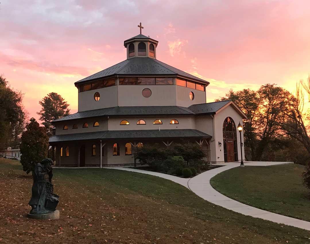Holy Apostles chapel at sunset